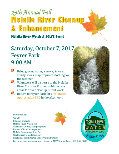 Molalla River Cleanup & Enhancement - Molalla River Watch & SOLVE Event